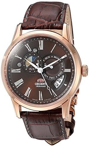 オリエント 腕時計 メンズ FET0T003T0 【送料無料】Orient Men's 'Sun and Moon' Japanese Automatic Stainless Steel and Leather Dress Watch, Color:Brown (Model: FET0T003T0)オリエント 腕時計 メンズ FET0T003T0