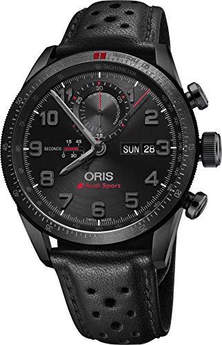 オリス 腕時計 メンズ 778-7661-7784-LS Oris Audi Sport Black Dial Leather Strap Men's Watch 77876617784LSオリス 腕時計 メンズ 778-7661-7784-LS