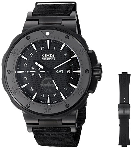 オリス 腕時計 メンズ 74777157754SET Oris Men's 'Force Recon Gmt' Swiss Automatic Titanium and Rubber Dress Watch, Color:Black (Model: 74777157754SET)オリス 腕時計 メンズ 74777157754SET