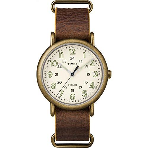 タイメックス 腕時計 メンズ TW2P85700 Timex Men's TW2P85700 Weekender 40 Antiqued Brass/Brown Leather Slip-Thru Strap Watchタイメックス 腕時計 メンズ TW2P85700