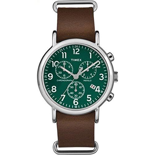 腕時計 タイメックス メンズ TW2P97400 【送料無料】Timex Unisex TW2P97400 Weekender Chrono Brown Leather Slip-Thru Strap Watch腕時計 タイメックス メンズ TW2P97400