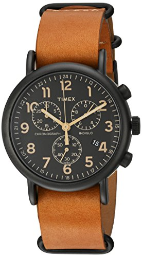 腕時計 タイメックス レディース TW2P97500 【送料無料】Timex Unisex TW2P97500 Weekender Chrono Tan Double-Layered Leather Slip-Thru Strap Watch腕時計 タイメックス レディース TW2P97500