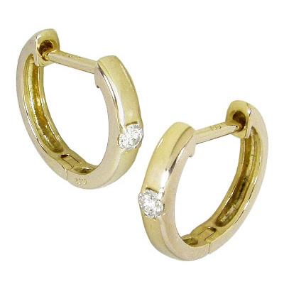 中折れ フープピアス ダイヤモンド 0.04ct K10 イエローゴールド K10YG 中折れ式 ダイヤ フープ ピアス 4月誕生石 一粒ダイヤ レディース メンズ 女性用 男性用 両耳用 シンプル ゴールド 10金 ダイヤフープピアス プレゼント