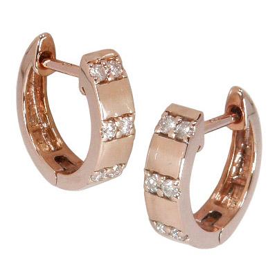 中折れ フープピアス ダイヤモンド 0.1ct K18 ピンクゴールド K18PG 中折れ式 ダイヤ フープ ピアス 4月誕生石 平打ち レディース メンズ 女性用 男性用 両耳用 シンプル ゴールド 18金 ダイヤフープピアス プレゼント
