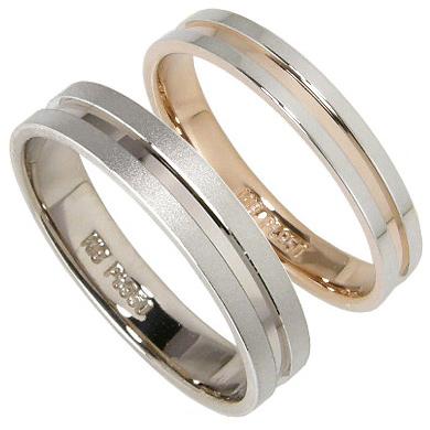 【5%OFFクーポン】3/31迄 【刻印無料】2本セット:プラチナマリッジリング結婚指輪:プラチナ950/K18PG:K18WG
