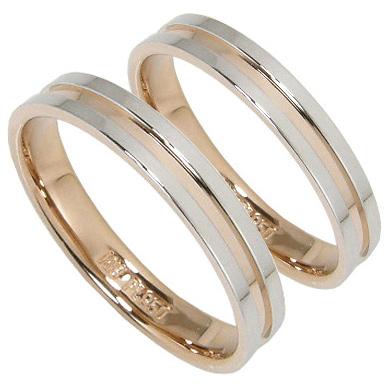 【10%OFF】お買い物マラソン【刻印無料】マリッジリング 結婚指輪 ペア 2本セット プラチナ950 K18PG ペアリング