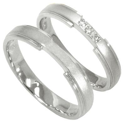 【5%OFFクーポン】5/24迄 【刻印無料】2本セット:ハードプラチナマリッジリング結婚指輪:0.04ct:スリーストーン:つや消し/プラチナ950:Pt950