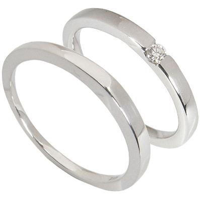【5%OFFクーポン】5/24迄 【刻印無料】2本セット:プラチナマリッジリング結婚指輪:1粒ダイヤ0.05ct/プラチナ900:Pt900