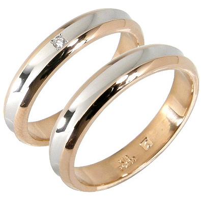【刻印無料】2本セット:プラチナ900/K18PG:プラチナマリッジリング結婚指輪
