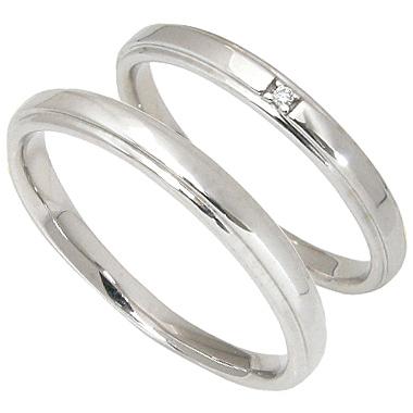 【10%OFF】お買い物マラソン【刻印無料】2本セット:ハードプラチナマリッジリング結婚指輪:1粒ダイヤ0.005ct/プラチナ950:Pt950
