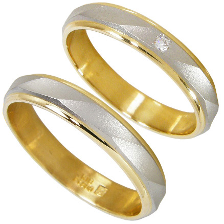 【5%OFFクーポン】3/31迄 【刻印無料】ペアリング2本セット:マリッジリング結婚指輪:プラチナ900(Pt900)&K18ゴールド ダイヤモンド