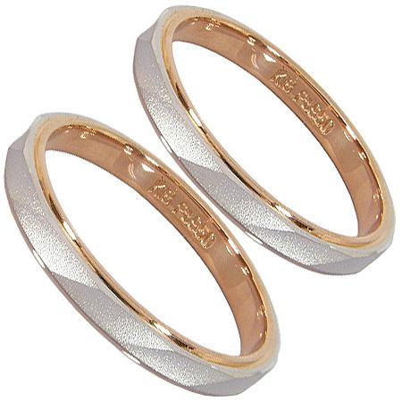 ペアリング2本セット:マリッジリング結婚指輪:プラチナ950(Pt950)&K18ピンクゴールド(K18PG)【刻印無料】
