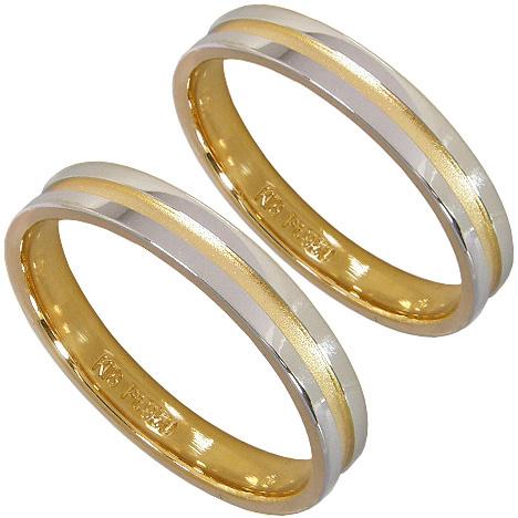 ペアリング2本セット:マリッジリング結婚指輪:プラチナ950(Pt950)&K18ゴールド(K18)【刻印無料】