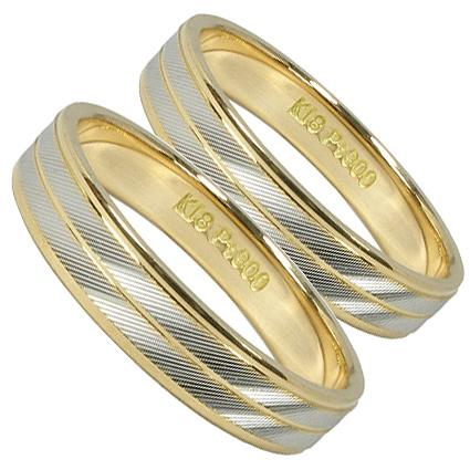 【刻印無料】2本セット:プラチナマリッジリング結婚指輪:プラチナ900/K18YG