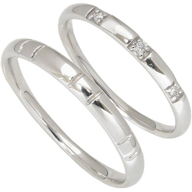 【5%OFFクーポン】5/24迄 【刻印無料】2本セット:ハードプラチナマリッジリング結婚指輪:0.03ct:スリーストーン/プラチナ950:Pt950
