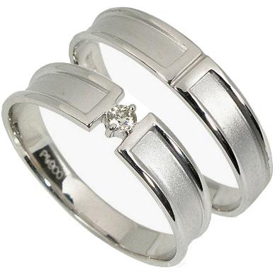 【10%OFF】お買い物マラソン【刻印無料】2本セット:プラチナマリッジリング結婚指輪:1粒ダイヤ0.03ct:つや消し/プラチナ900:Pt900