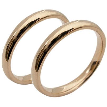 【刻印無料】2本セット:甲丸:マリッジリング結婚指輪:K18ピンクゴールド:K18PG