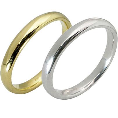 【10%OFF】お買い物マラソン【刻印無料】2本セット:甲丸:マリッジリング結婚指輪:K18イエローゴールド:K18YG/K18ホワイトゴールド:K18WG