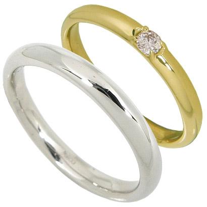 【5%OFFクーポン】3/31迄 【刻印無料】ペアリング2本セット:甲丸:マリッジリング結婚指輪:1粒ダイヤ0.07ct/K18イエローゴールド:K18YG/K18ホワイトゴールド:K18WG