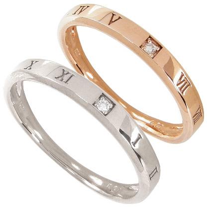 【10%OFF】お買い物マラソン【刻印無料】マリッジリング 結婚指輪 ペア 2本セット 1粒ダイヤモンド0.01ct K10ホワイトゴールド K10WG K10ピンクゴールド K10PG ペアリング