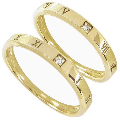 【10%OFF】お買い物マラソン【刻印無料】マリッジリング 結婚指輪 ペア 2本セット 1粒ダイヤモンド0.01ct K10イエローゴールド K10YG ペアリング