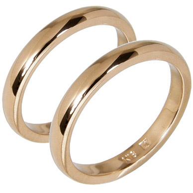 【刻印無料】2本セット:甲丸:マリッジリング結婚指輪/K18ピンクゴールド:K18PG