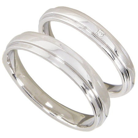 【10%OFF】お買い物マラソン【Avanty】【刻印無料】ペアリング2本セット:マリッジリング結婚指輪:1粒ダイヤ0.006ct/K10ホワイトゴールド:K10WG