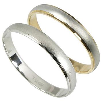 結婚指輪 マリッジリング ペアリング 2本セット プラチナリング Pt900 K18 プラチナ プラチナ900 K18イエローゴールド K18YG 甲丸 リング コンビ つや消し マット仕上 指輪 婚約指輪 結婚式 結婚記念日 記念日 プレゼント