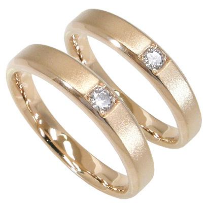 【5%OFFクーポン】5/24迄 【刻印無料】ペアリング2本セット:マリッジリング結婚指輪:1粒ダイヤ0.05ct/K10ピンクゴールド:K10PG