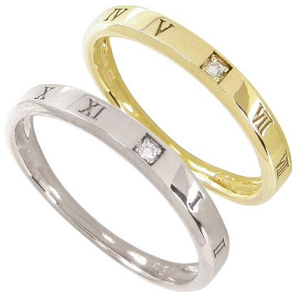 【10%OFF】お買い物マラソン【刻印無料】マリッジリング 結婚指輪 ペア 2本セット 1粒ダイヤモンド0.01ct K10ホワイトゴールド K10WG K10イエローゴールド K10YG ペアリング