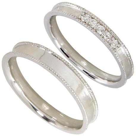 【刻印無料】ペアリング2本セット:マリッジリング結婚指輪:K10ホワイトゴールド:K10WG