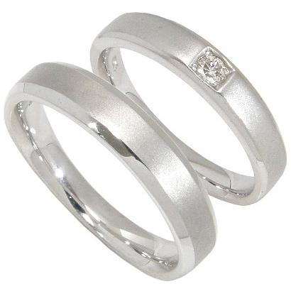 【刻印無料】ペアリング2本セット:マリッジリング結婚指輪:1粒ダイヤ0.05ct:つや消し/K10ホワイトゴールド:K10WG