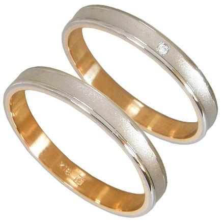 【刻印無料】ペアリング2本セット:マリッジリング結婚指輪:K18ホワイトゴールド:K18WG&K18ピンクゴールド:K18PG ダイヤモンド