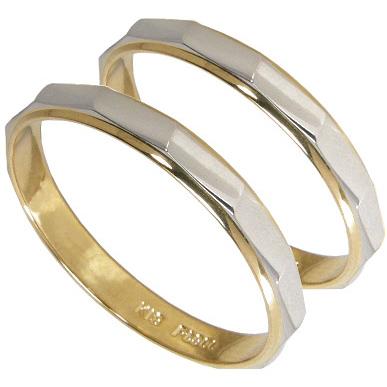 【刻印無料】ペアリング2本セット:プラチナ900/K18のコンビ:プラチナマリッジリング結婚指輪