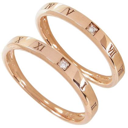 【10%OFF】お買い物マラソン【刻印無料】マリッジリング 結婚指輪 ペア 2本セット 1粒ダイヤモンド0.01ct K10ピンクゴールド K10PG ペアリング