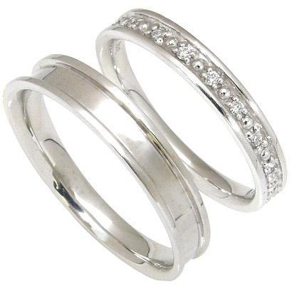 【刻印無料】ペアリング2本セット:マリッジリング結婚指輪:ダイヤ9石:0.04ct/K10ホワイトゴールド:K10WG