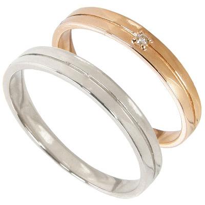 【刻印無料】ペアリング2本セット:マリッジリング結婚指輪:1粒ダイヤ0.01ct/K10ピンクゴールド:K10PG/K10ホワイトゴールド:K10WG