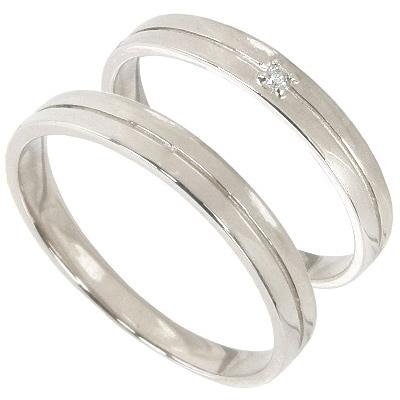 【10%OFF】お買い物マラソン【刻印無料】ペアリング2本セット:マリッジリング結婚指輪:1粒ダイヤ0.01ct/K10ホワイトゴールド:K10WG