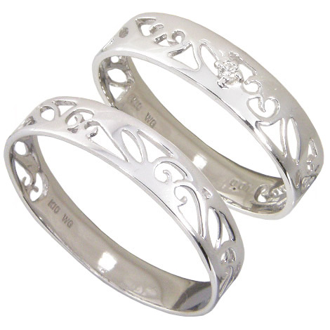 【10%OFF】お買い物マラソン【Avanty】【刻印無料】ペアリング2本セット:マリッジリング結婚指輪:1粒ダイヤ0.01ct/K10ホワイトゴールド:K10WG