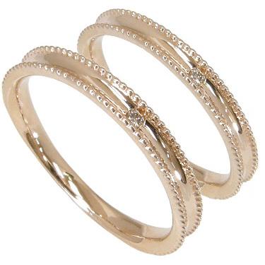 【刻印無料】ペアリング2本セット:マリッジリング結婚指輪:1粒ダイヤ0.01ct:ミル打ち/K10ピンクゴールド:K10PG