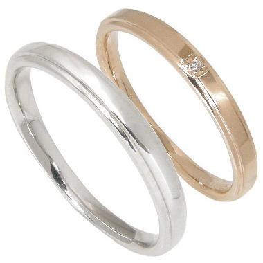 【刻印無料】ペアリング2本セット:マリッジリング結婚指輪:1粒ダイヤ0.005ct/K10ピンクゴールド:K10PG/K10ホワイトゴールド:K10WG