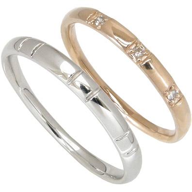 【10%OFF】お買い物マラソン【刻印無料】ペアリング2本セット:マリッジリング結婚指輪:スリーストーン:0.03ct/K10ピンクゴールド:K10PG/K10ホワイトゴールド:K10WG