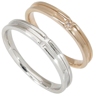 【刻印無料】ペアリング2本セット:マリッジリング結婚指輪:1粒ダイヤ0.006ct/K10ピンクゴールド:K10PG/K10ホワイトゴールド:K10WG