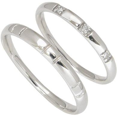 【10%OFF】お買い物マラソン【刻印無料】ペアリング2本セット:マリッジリング結婚指輪:スリーストーン:0.03ct/K10ホワイトゴールド:K10WG
