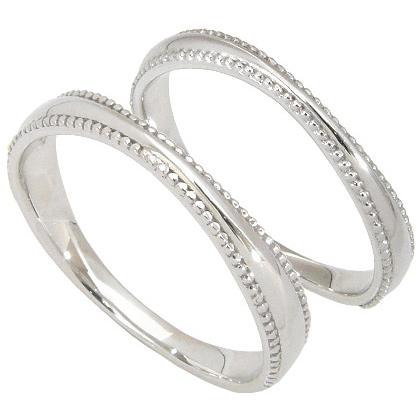【10%OFF】お買い物マラソン【刻印無料】ペアリング2本セット:マリッジリング結婚指輪:ミル打ち/K10ホワイトゴールド:K10WG