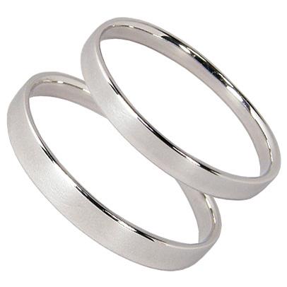結婚指輪 マリッジリング ペアリング 2本セット K10 ホワイトゴールド K10WG 平打ち 光沢 シンプル ブライダルジュエリー レディース メンズ ギフト 結婚記念日