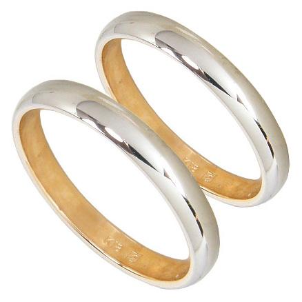 【光沢に輝く人気甲丸】ペアリング2本セット マリッジリング結婚指輪 K18 ホワイトゴールド K18WG K18 ピンクゴールド K18PG コンビリング 結婚記念日【刻印無料】