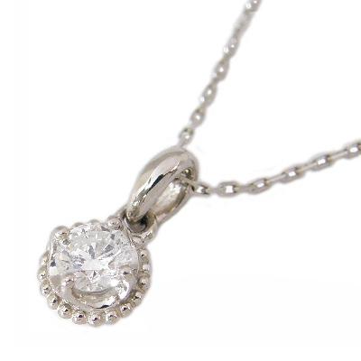 【K18WG】1粒ダイヤモンドネックレス ダイヤモンド0.1カラット 0.1ct K18WG K18ホワイトゴールド K18 ホワイトゴールド ダイヤモンド ネックレス