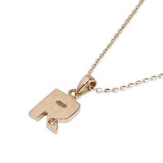 K10PG:イニシャルネックレス【R】:ダイヤ付/K10ピンクゴールド