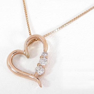 【10%OFF】お買い物マラソン ダイヤモンド ネックレス ピンクゴールド 0.1カラット トリロジー ダイヤネックレス